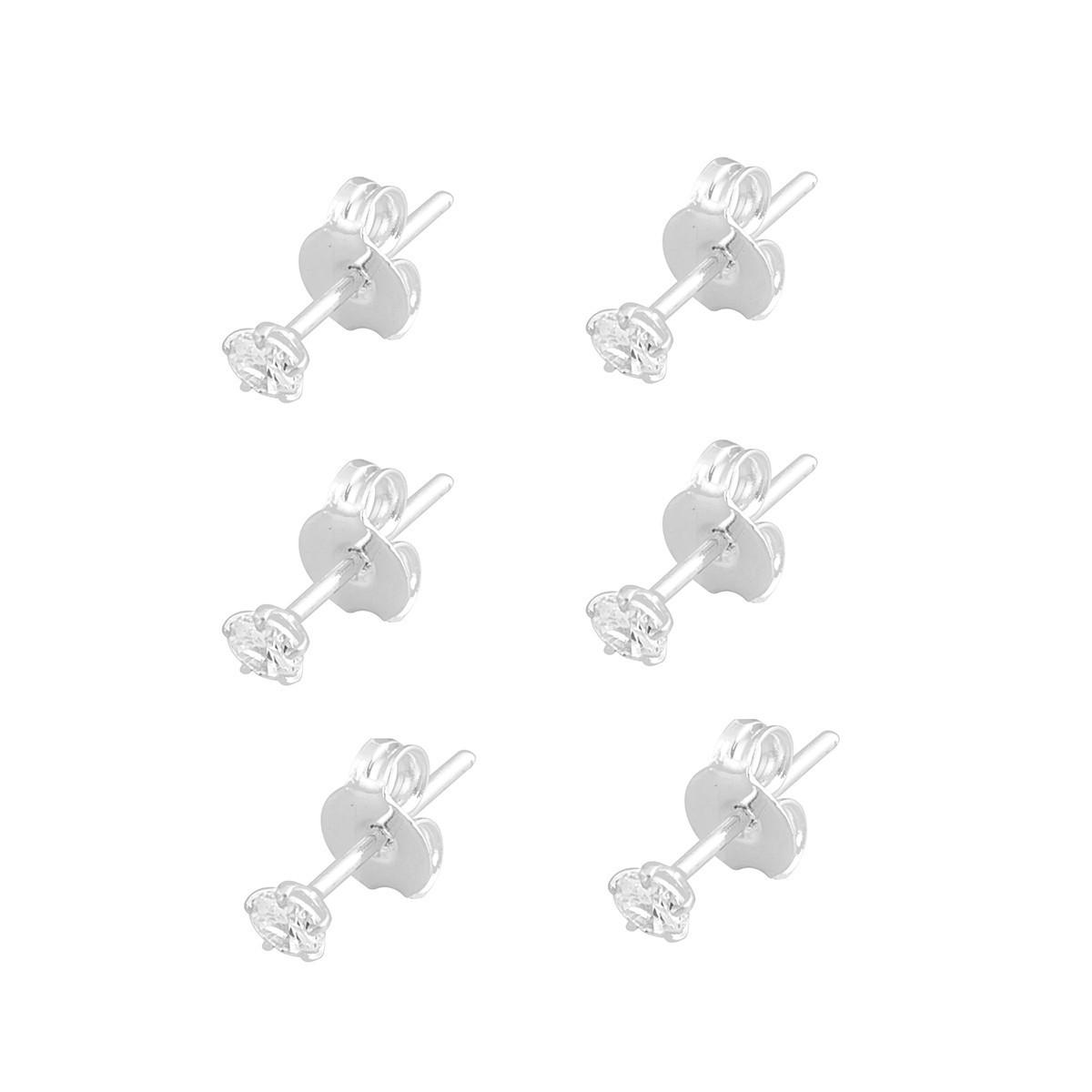 Kit 3 Brincos Zircônia 3mm Feminino De Prata 925