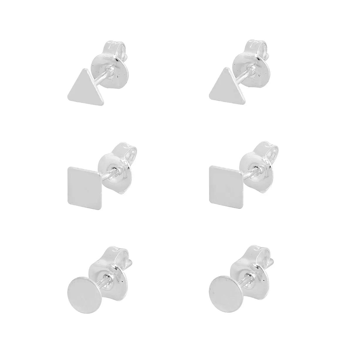 Kit Conjunto Trio Brincos Formato Geométricos De Prata 925 Feminino