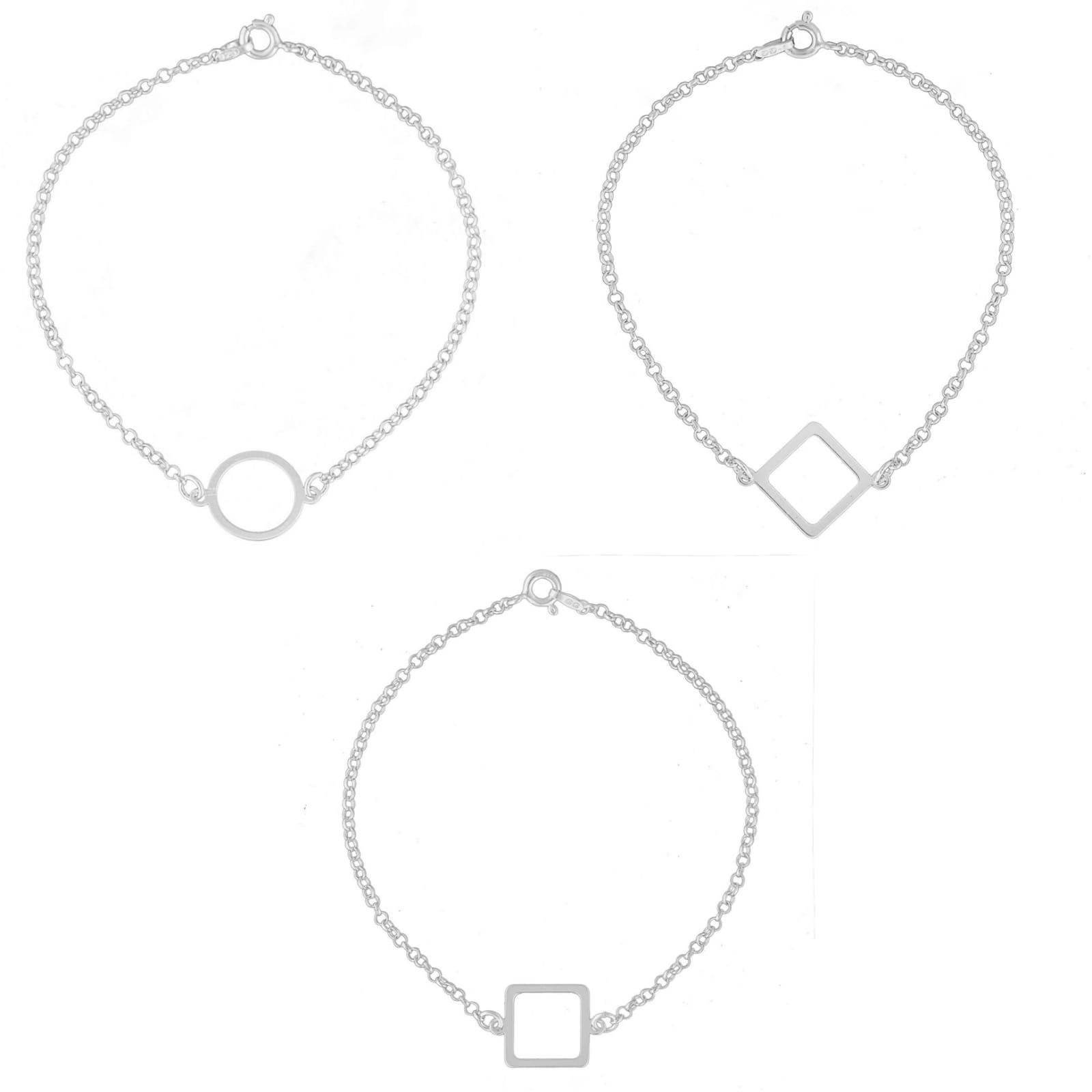 Kit Pulseiras Geométricas Feminina 18cm De Prata 925