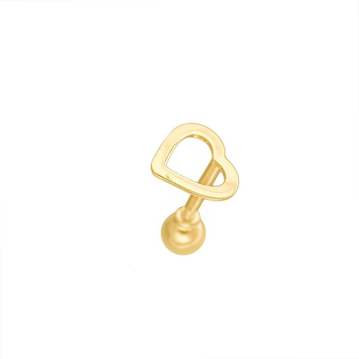 Piercing Coração Cartilagem Tragus Hélix Em Ouro 18k