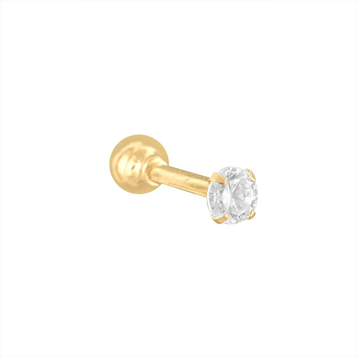 Piercing Tragus Em Ouro 18k Com Zircônia Cartilagem Hélix