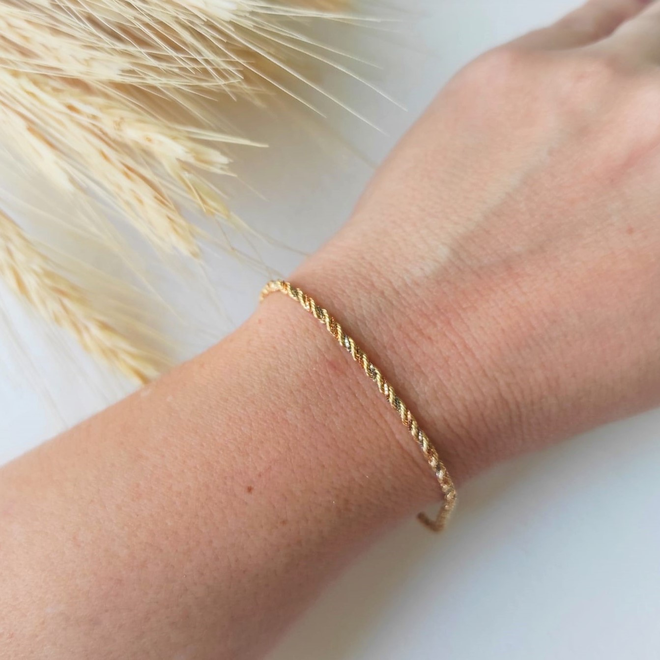Pulseira Feminina 18cm Cordão Baiano Tricolor De Ouro 18k