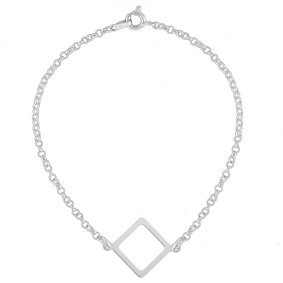 Pulseira Feminina 18cm Forma Geométrica Losango De Prata 925