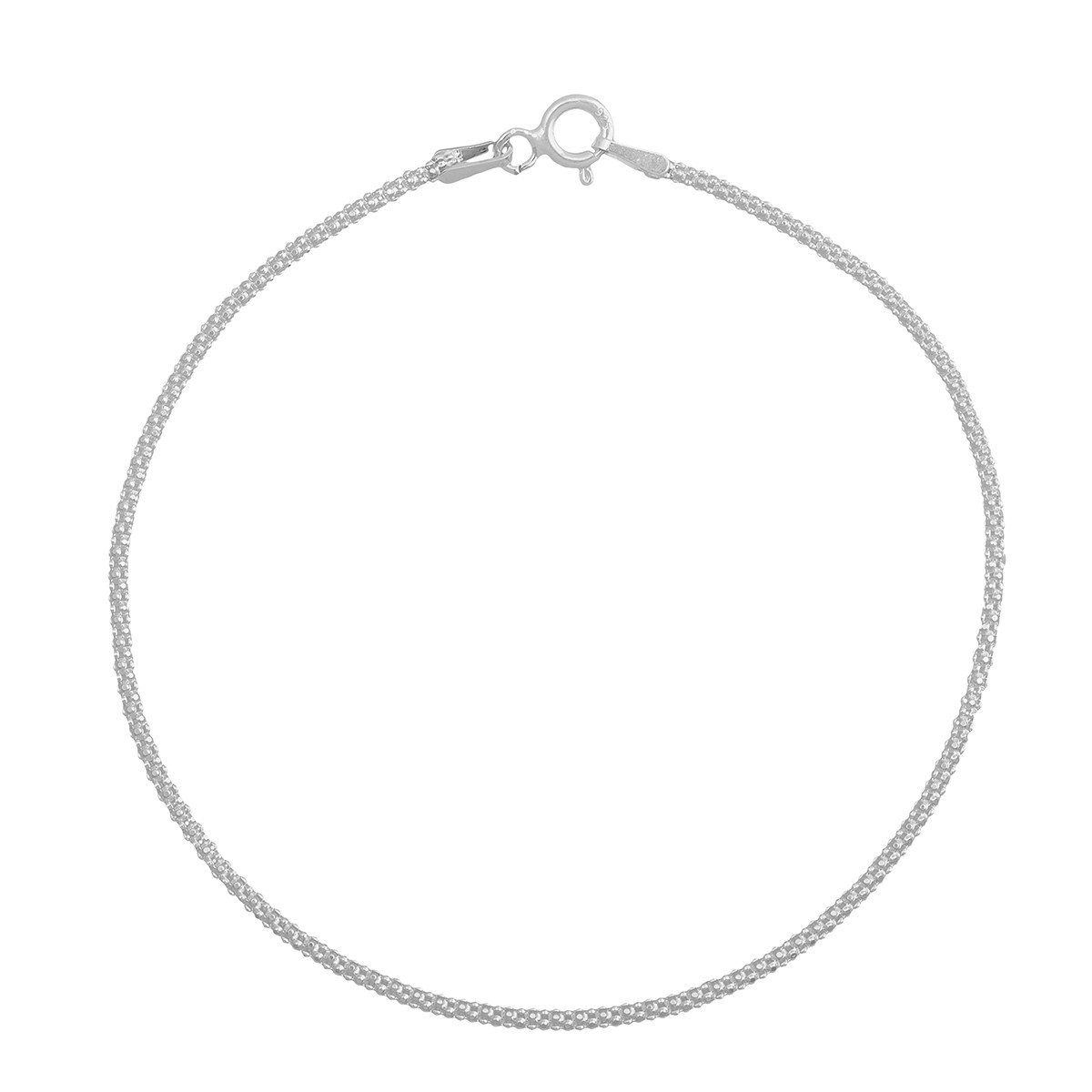 Pulseira Feminina 18cm Pipoca De Prata 925 Maciça