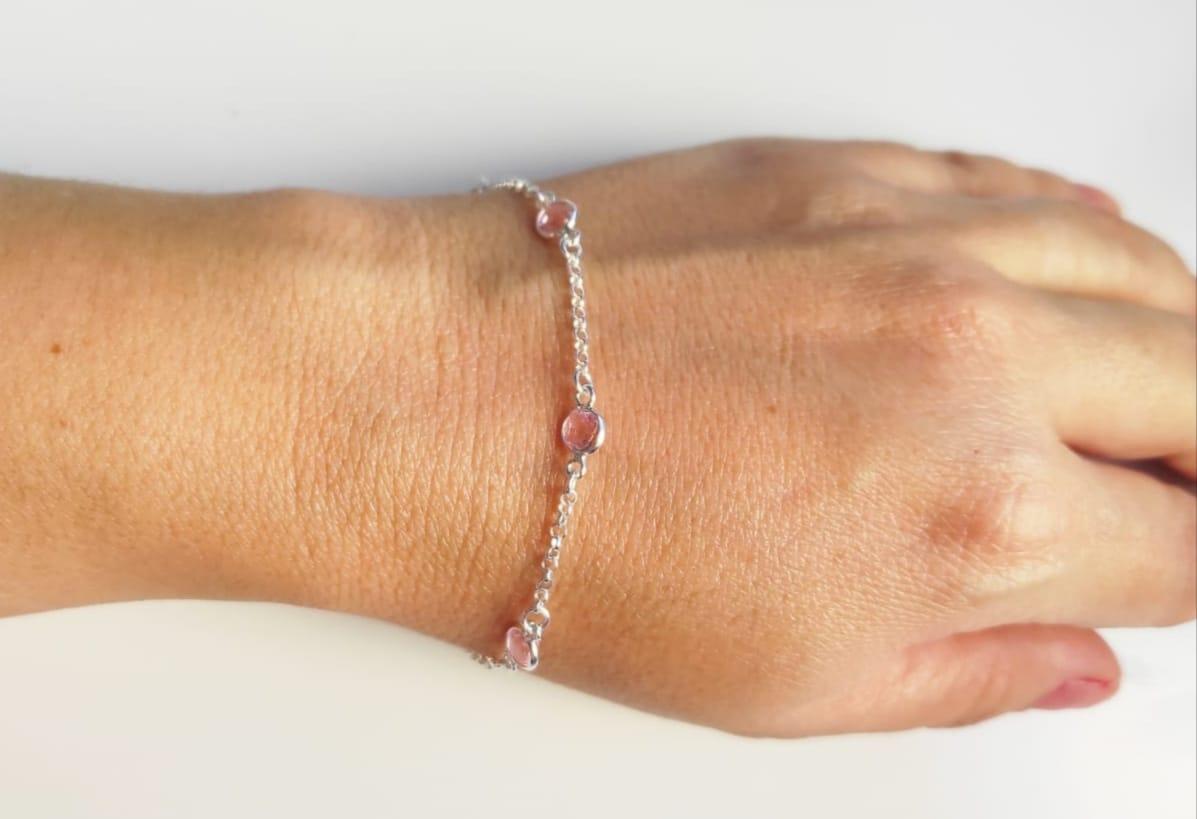 Pulseira Feminina Pedra Rosa Zircônia De Prata 925