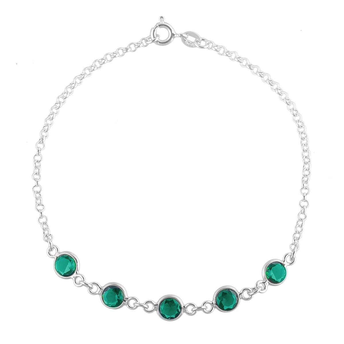 Pulseira Feminina Pedra Verde Zircônia Prata 925