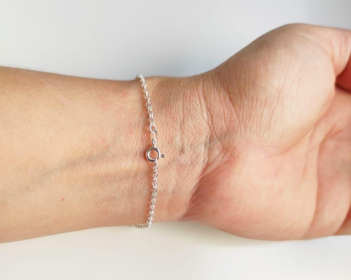 Pulseira Feminina Pedra Zircônia Coração Rosa Prata 925