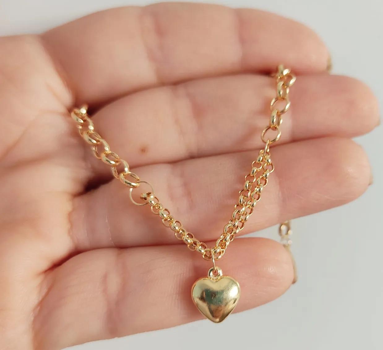 Pulseira Feminina Portuguesa Coração De Ouro 18k