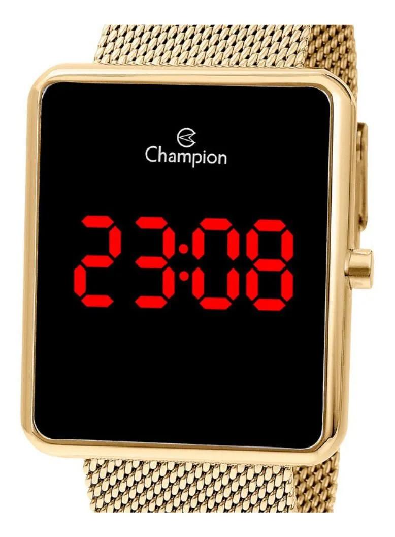 Relógio Champion Feminino Digital Dourado Quadrado CH40080V