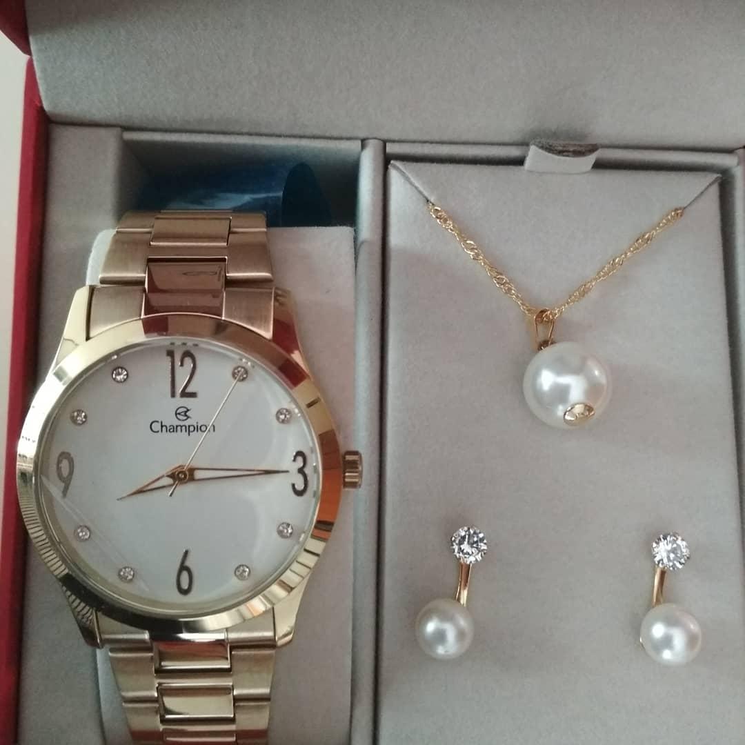 Relógio Feminino Champion Dourado CN29061W