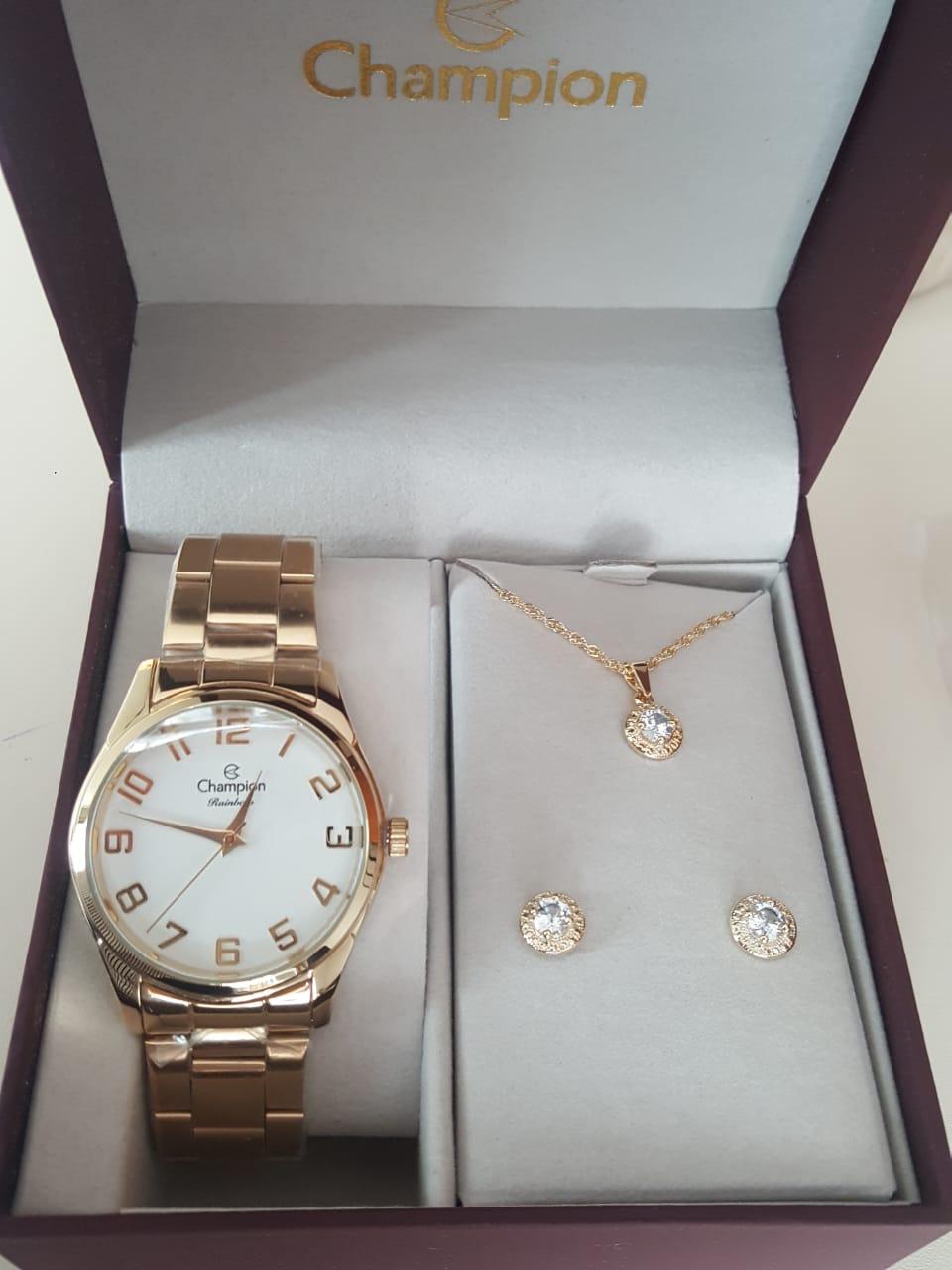 697c4bd4cd5 Relógio Feminino Champion Dourado CN29883J - DR JOIAS