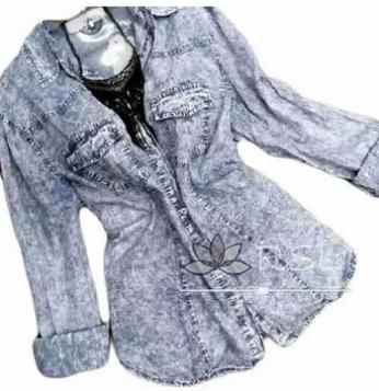 92946aafbe Camisa Jeans Manga Longa Feminina Promoção