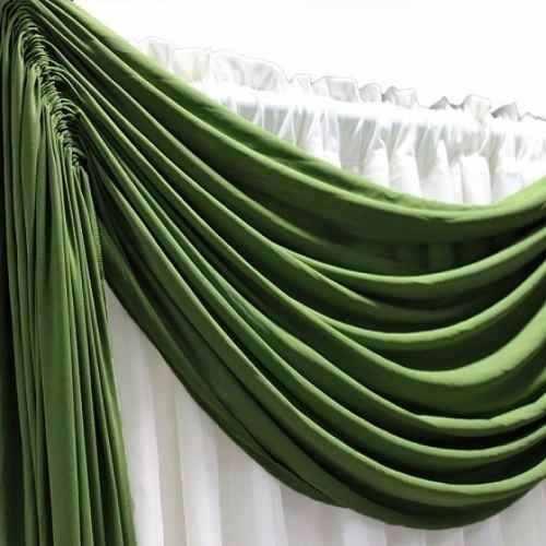 Cortina Sala Bali 300 x 250 cm Verde Com Bandô E Forro Sultan