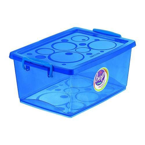 Caixa Organizadora Com Trava 15l Azul - Ordene OR80558