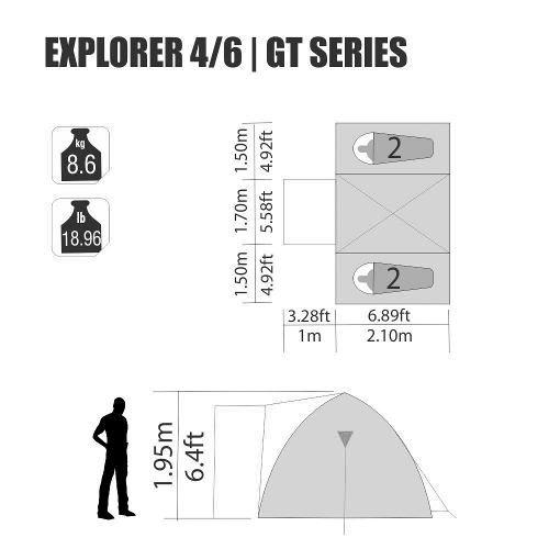 Barraca Iglu Sobre Teto Explorer Gt 4/6 Pessoas Nautika