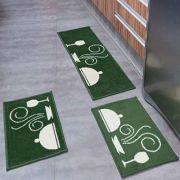 Jogo Tapete Cozinha Madrid 3 Peças Dinner Verde