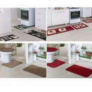 2 Tapete Cozinha Madrid Pinguim e Tulipa 2 Banheiro Relevo caramelo e vermelho