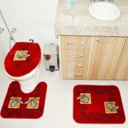 Jogo de Tapete Banheiro Veludo 3 Peças Royal Luxury Vermelho 102-6 Rayza