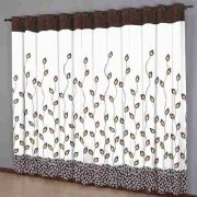 Cortina Sala 220 x 240 cm Estampada Folhas Chocolate