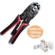 Alicate Crimpar LT-200r Rj11 12 Rj45 Rj50 E 100 10 Vias
