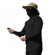 Camiseta Masculina com Proteção Solar UV 50+ Com Capuz Preto Vitho