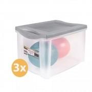 Conjunto 3 Caixas Organizadoras 30 Litros SanRemo Cinza