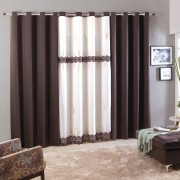 Cortina Sala 300 x 250 Voal Bordado Forro Chale Oxford Montreal Marrom Chocolate