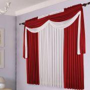 Cortina Sala Malha 200 x 180 com Bandô Cairo Vermelha