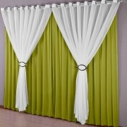 Cortina Sala Malha Verde 300 x 250 cm Ilhos Cromado Istambul