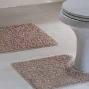 Jogo Tapete Banheiro 2 peças Natura High Caqui 100% Algodão
