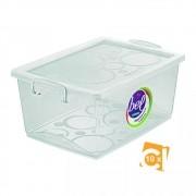 Kit 10 Caixas Organizadoras Com Trava 30l Cristal Ordene