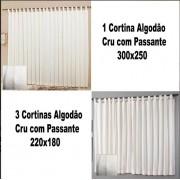 Kit 1 Cortina 300x250 3 Cortinas 220x180 Algodao Cru Passante