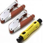 Kit 2 Alicate Crimpar H518A1 e Decapador Coaxial RG6 HY-323