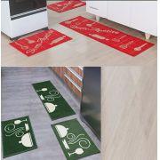 Kit 2 Tapete Cozinha Sisal Bom Apetite Vermelho E Madrid Dinner Verde