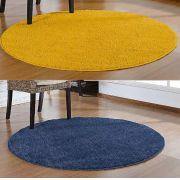 Kit 2 Tapete Redondos 150 X 150 Amarelo E Azul Marinho Jeans