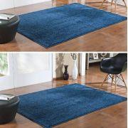 Kit 2 Tapete Sala Quarto Classic Azul Jeans 150 X 200