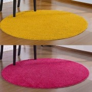 Kit 2 Tapetes Redondo 100 cm Classic 1 Pink 1 Amarelo