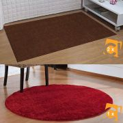 Kit 3 Tapetes Classic 2 Castor 50 x 100 cm 1 Redondo 100 cm cereja