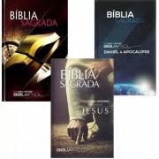 Kit 3 Volumes Bíblia Fácil Sagrada Com Guia De Estudos