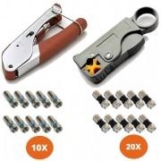Kit Alicate Coaxial E Decapador 10 Conector Rg6 E 20 Rg59