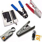 Kit Alicate Crimpa Decapa Coaxial Rg6 Rg59 Testador Rj45 10 Rg59