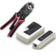 Kit Alicate Crimpa Rj11 12 Rj45 Rj50 10 Vias E Testador Bnc