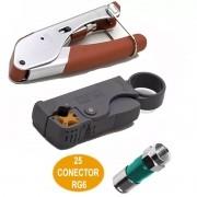 Kit Alicate Crimpar Decapador Cabo Coaxial e 25 Conector RG6