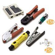 Kit Alicates Crimpar Rg6 Rg59 Testador Bnc Rj45 15 RG6 e 25 RJ45