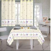 Kit Cozinha Cortina 200 x 140 Toalha De Mesa 220 X 145 Helga
