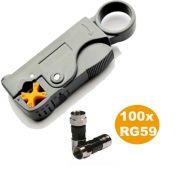 Kit Decapador Hy-332 + 100 Conectores RG59