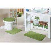 Jogo De Tapete Para Banheiro Relevo 3 Peças Verde