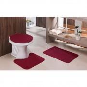Jogo Tapete Banheiro Relevo 3 Peças Vermelho