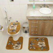 Kit Jogo Tapete Banheiro 3 Peças Royal Luxury Caramelo 101-3