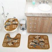 Kit Jogo Tapete Banheiro 3 Peças Royal Luxury Caramelo 104-3